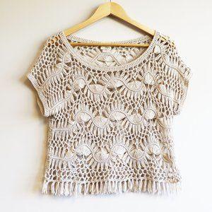 Daytrip Boho Knit Crochet Festival Fringe Top M